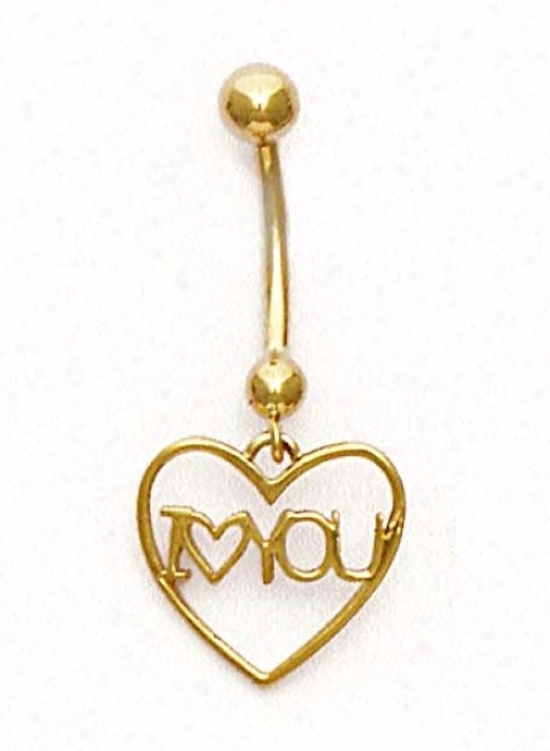14k Yellow I Love You Belly Ring