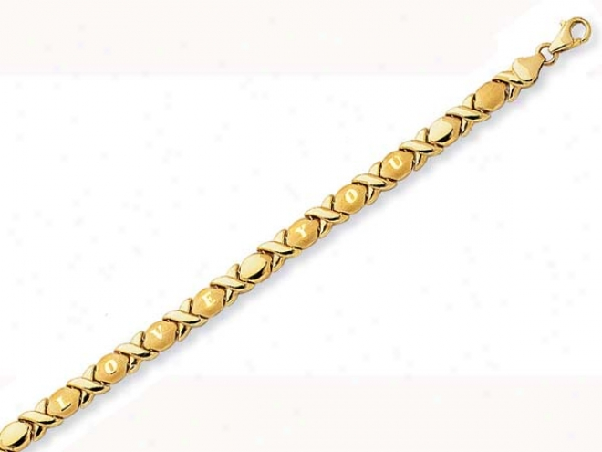 14k Yellow I Love You Xo Bracelet - 7.25 Inch