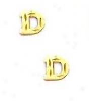 14k Yello Initial D Frction-back Post Earrings