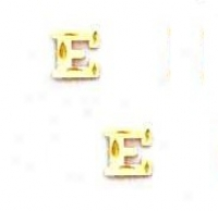 14k Yellow Initial E Friction-back Post Earrings