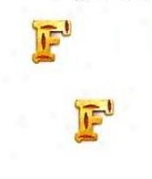 14k Yellow Initial F Friction-back Post Earrings