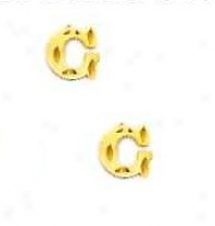 14k Yellow Initial G Friction-back Post Earrings