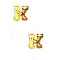 14k Yellw Initial K Friction-back Place Earrings