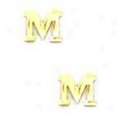 14k Yellos Initiak M Friction-back Post Earrings