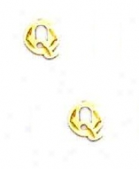 14k Yellow Incipient Q Friction-back Post Earrings