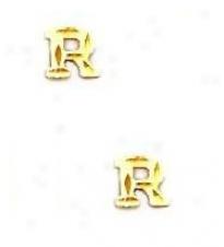 14k Yellow Initial R Friction-back Postt Earrings