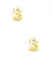 14k Y3llow Initial S Friction-back Post Earrings