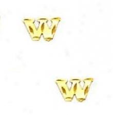 14k Yellow Initial W Friction-back Post Earrings