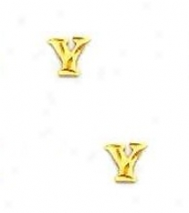 14k Yellow Initial Y Friction-back Post Earrings