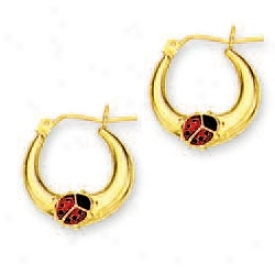 14k Yellow Ladybug Hoop Enamel Earrings