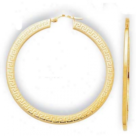 14k Yellow Large Greek Key Hoop Earrings
