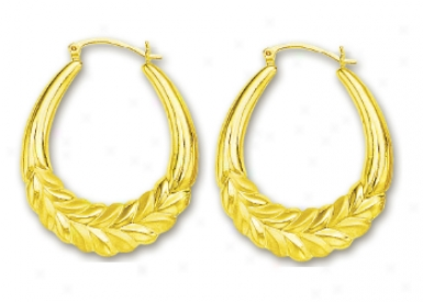 14k Yellow Large Leaf Hoop Earrings