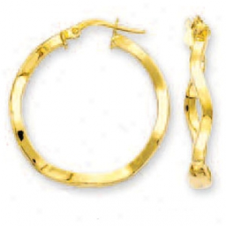 14k Yellow Large Undulating Hoop Earrings