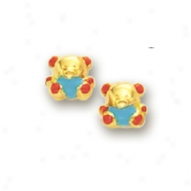 14k Yellow Little Bear Childrens Stud nEamel Earrings
