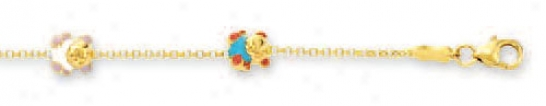 14k Yellow Little Bears Childrens Enamel Bracelet - 5.5 Inch