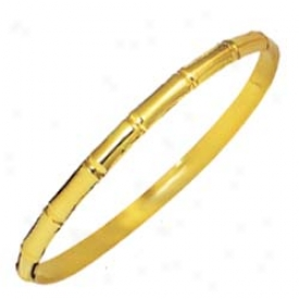 14k Yellow Matt And Shiny Stackable Bangle - 8 Inch
