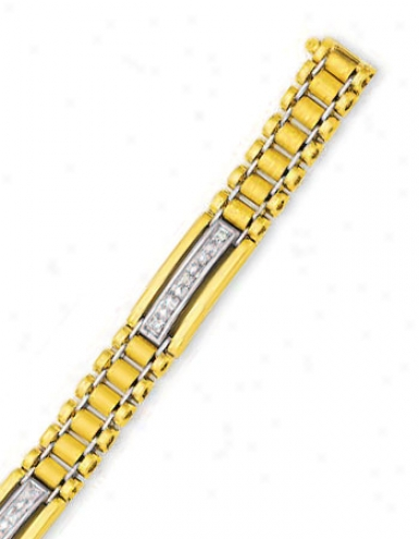 14k Yellow Mens Diamond Bracelet - 8.25 Inch