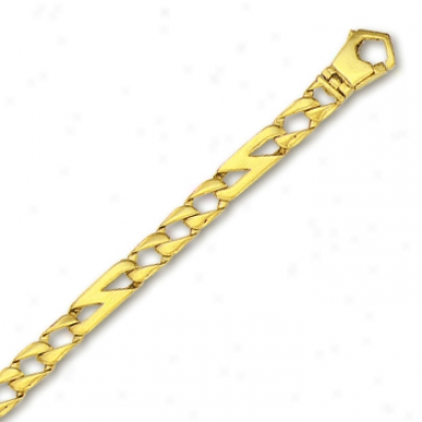 14k Yellow Mens Link Bracelet - 8 Inch