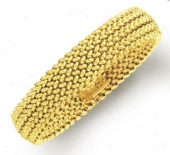 14k Golden Mesh Bracelet - 7.25 Inch
