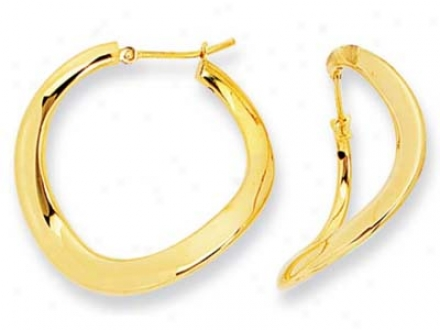 14k Yellow Modern Twist Design Hoop Earrings