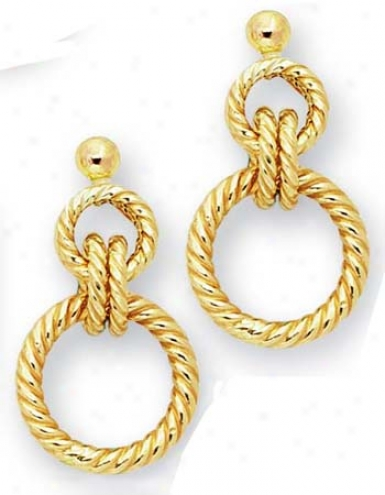 14k Yellow Multi-circles Drop Design Earrings