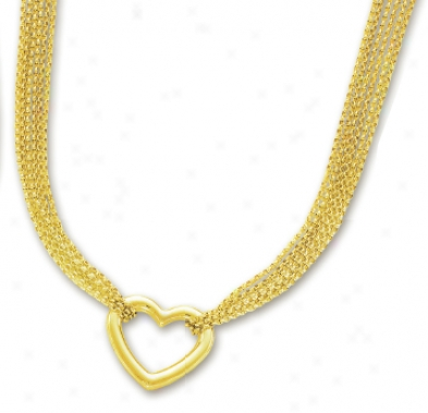 14k Yellow Multi-strand Elegant Heart Necklace - 17 Inch
