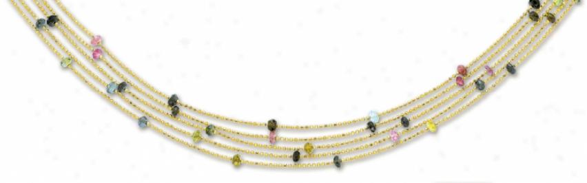 14k Yellow Multi Strand Tourmaline Necklace - 17 Inch