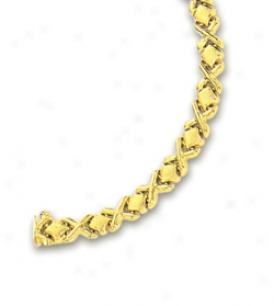 14k Yellow Narrow Hugs And Kissez Bracelet - 7 Inch