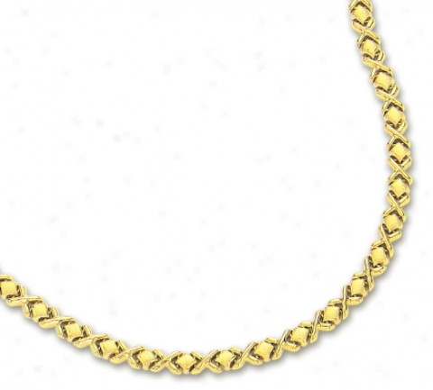 14k Yellow Cramp Hugs And Kisses Necklace - 17 Inch