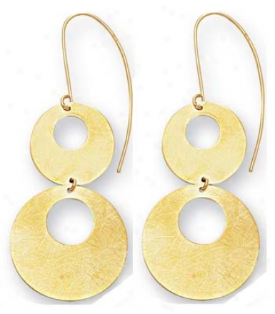 14k Yellow Open Circles Drop Frenchwire Earrings