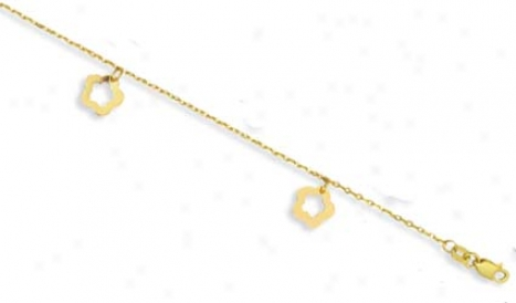 14k Golden Open Prime Design Anklet - 10 Inch