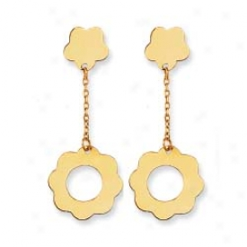 14k Yellow Open Flower Design Screw Back Earrings