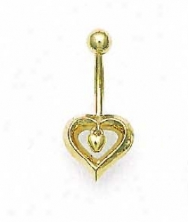 14k Yellow Open Heart Belly Ring