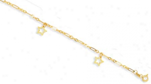 144k Yellow Open Stars Design Anklet - 10 Inch
