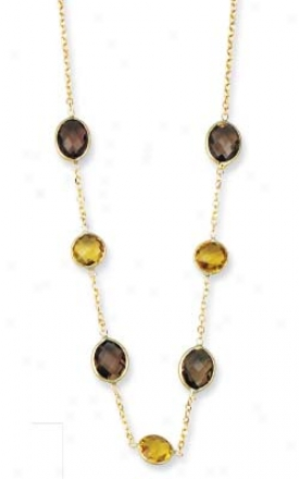 14k Yellow Oval Bezel-sey Smokey Topaz Necklace - 17 Inch