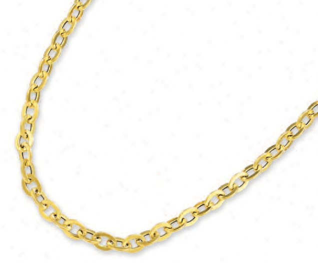 14k Yellow Oval Link Chain - 17 Inch