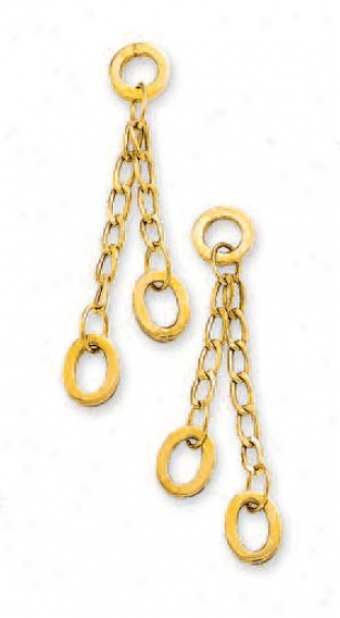 14k Yellow Oval Link Earrings