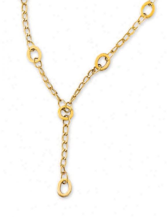14k Yellow Oval Link Lariat Necklace - 17 Inch