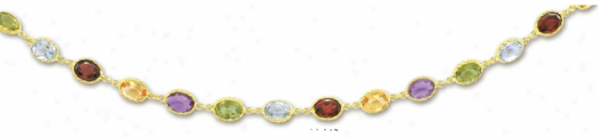 14k Yellow Oval Station Gemstone Bracwlet - 7.25 Inch