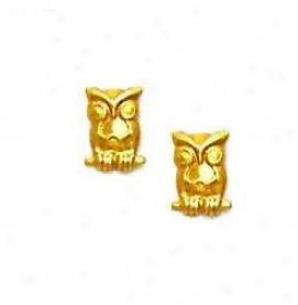 14k Yellow Owl Friction-back Post Earrings