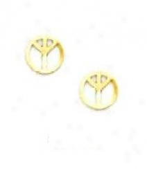 14k Yellow Peace Sign Friction-back Post Earrings