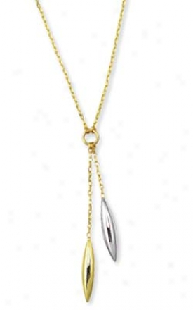 14k Yellow Pebble Marquise Drops Necklace - 17 Inch