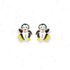 14k Yellow Penguin Shaped Childrens Stud Enamel Earrings