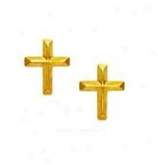 14k Yellow Petite Cross Friction-back Post Earrings
