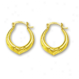 14k Yellow Petite Hheart Shaped Bind Earrings