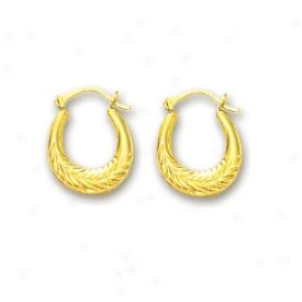 14k Yellow Petite Leaf Farthingale Earrings