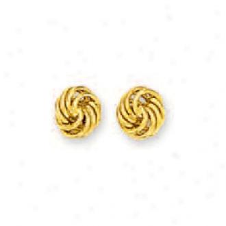 14k Yellow Petite Loveknot Earrings