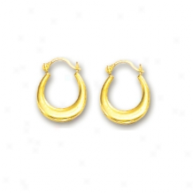 14k Yellow Petite Oval Hoop Earrings