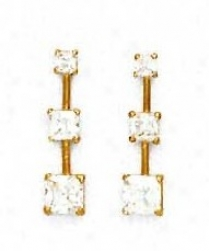 14k Yellow Piincess Cz Three-stone Post Earrings