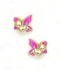 14k Yellow Pink Enamel Childrens Bird Screw-back Earrings